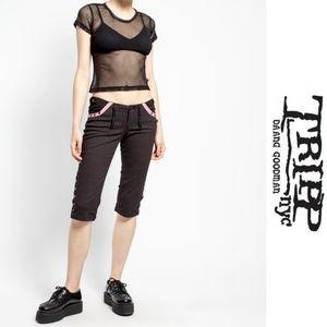 Pinstriped Tripp Capri Shortsl💀Goth/Punk/Indust💀